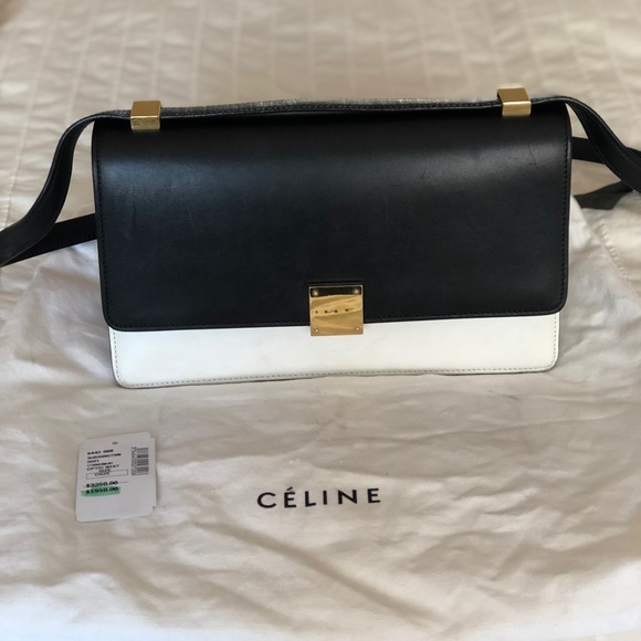 21ffa96941 Celine Bags | Medium Case Flap Bag Black White | Poshmark